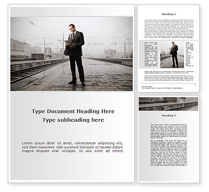 Cars/Transportation: Man On Platform Word Template #09786