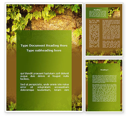 Nature & Environment: Wall Overgrown With Vines Word Template #09792