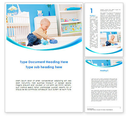 Baby Playing Home Word Template, 09796, People — PoweredTemplate.com