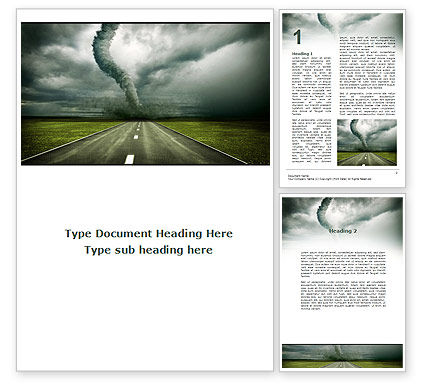 Tornado On The Road Word Template, 09821, Nature & Environment — PoweredTemplate.com