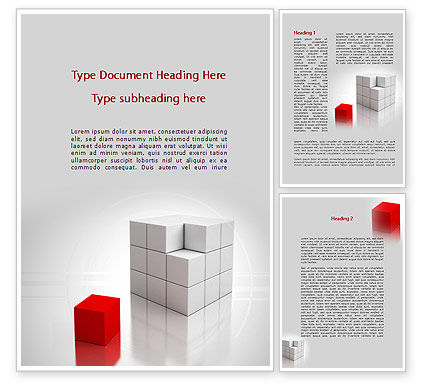 Business Concepts: Rode Deel Van White Cube Word Template #09830