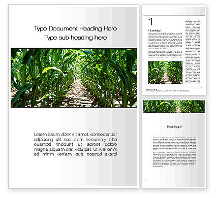 Corn Field Word Template, 09838, Agriculture and Animals — PoweredTemplate.com