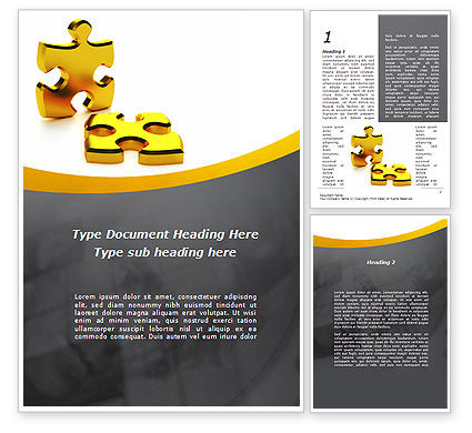 Golden Parts Of Puzzle Word Template, 09841, Financial/Accounting — PoweredTemplate.com