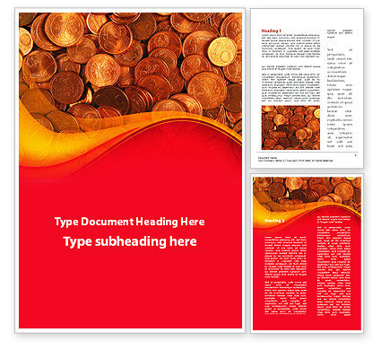 A Pile Of Gold Coins Word Template, 09847, Financial/Accounting — PoweredTemplate.com