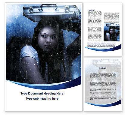 Girl Under The Rain Word Template, 09852, Consulting — PoweredTemplate.com