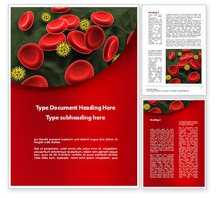 Virus In Blood Stream Word Template, 09857, Medical — PoweredTemplate.com