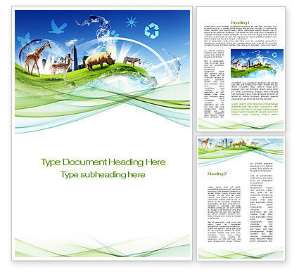 Agriculture and Animals: Ecological Balance Between Various Types Of Life Word Template #09864