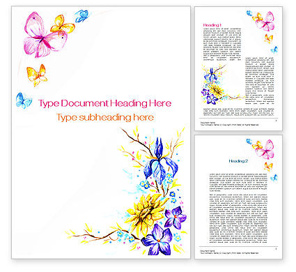 Art & Entertainment: Butterfly Frame Word Template #09873