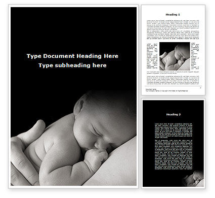 Sleeping Baby Word Template, 09877, People — PoweredTemplate.com