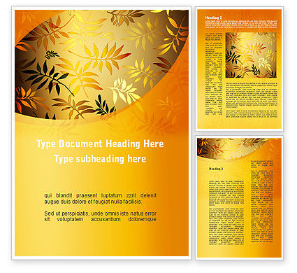 Golden Orange Vegetative Word Template, 09879, Nature & Environment — PoweredTemplate.com