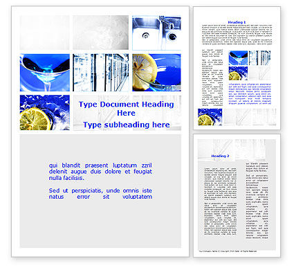 Blue Cocktails Collage Word Template, 09886, Food & Beverage — PoweredTemplate.com