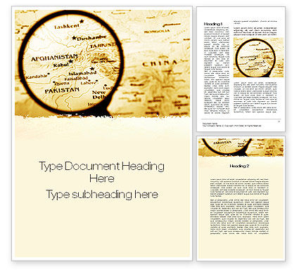 Map Of Afghanistan Word Template, 09892, Flags/International — PoweredTemplate.com