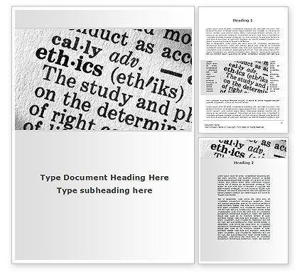 Ethics Word Template, 09895, Education & Training — PoweredTemplate.com