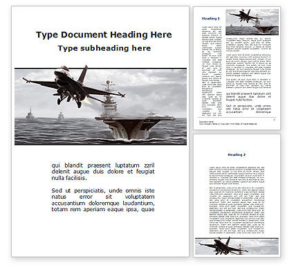 General Dynamics F-16 Fighting Falcon Starting With The Carrier Word Template, 09897, Military — PoweredTemplate.com