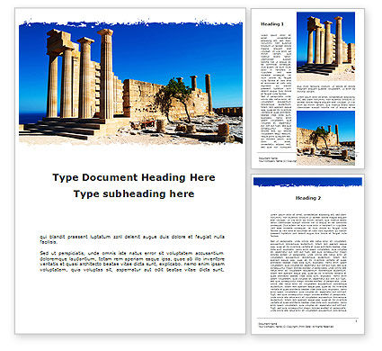 Holiday/Special Occasion: Ruins Of Ancient Greek Temple Word Template #09908