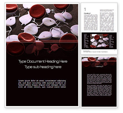Medical: Red And White Blood Cells Word Template #09912