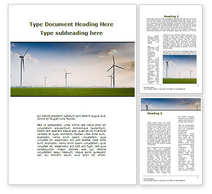 Careers/Industry: Wind Energy Windmills On Field Word Template #09914