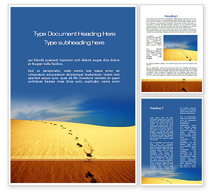 Religious/Spiritual: Traces In The Sand Word Template #09924