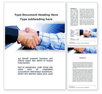 Business: Handshake In Blue Colors Word Template #09926