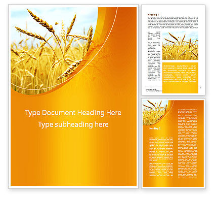 Golden Ear Of The Wheat Word Template, 09936, Agriculture and Animals — PoweredTemplate.com
