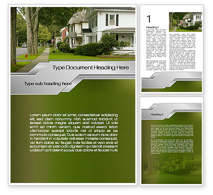 Suburban Lane Word Template, 09937, Construction — PoweredTemplate.com