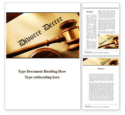 Divorce Decree With Gavel Word Template, 09945, Legal — PoweredTemplate.com