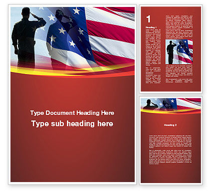 Saluting Flag Of The United States Word Template