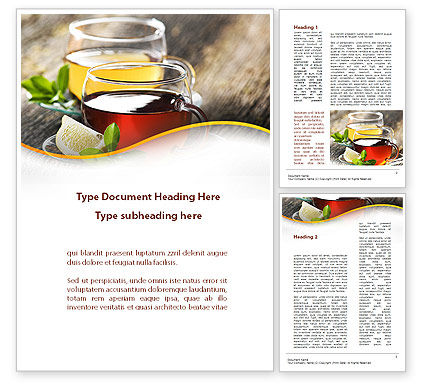 Food & Beverage: Two Cups Of Tea Word Template #09950