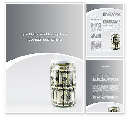 Glass Jar Full Of Dollars Word Template, 09951, Financial/Accounting — PoweredTemplate.com