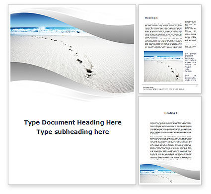 Footprints On The Dune Word Template, 09972, Holiday/Special Occasion — PoweredTemplate.com