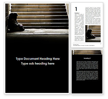 Panhandler On The Stairs Word Template, 09973, Religious/Spiritual — PoweredTemplate.com