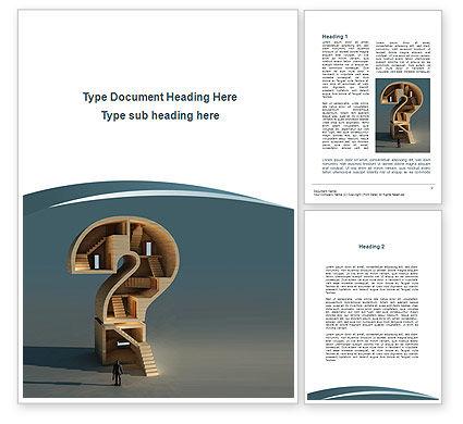 Question Mark Quest Word Template, 09978, Construction — PoweredTemplate.com