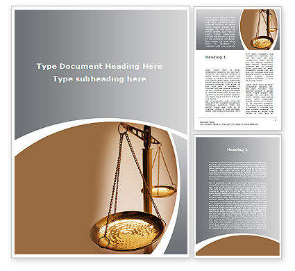 Scale of Justice Word Template, 09981, Legal — PoweredTemplate.com