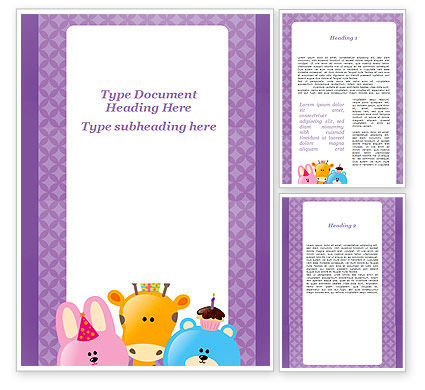 happy birthday for your children word template 09988