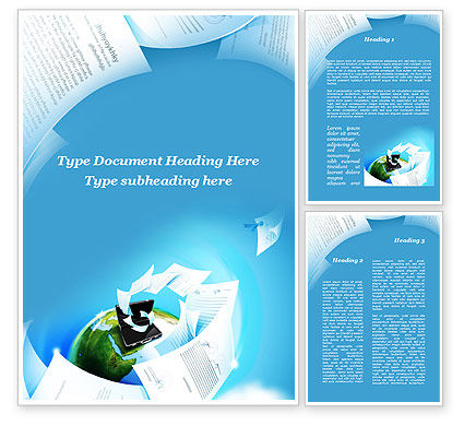 Flying Papers Word Template, 09989, Business — PoweredTemplate.com