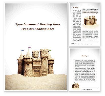 Sand Castle Word Template, 09998, Construction — PoweredTemplate.com