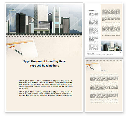 Architectural Plan Of Urban District Word Template, 10006, Construction — PoweredTemplate.com
