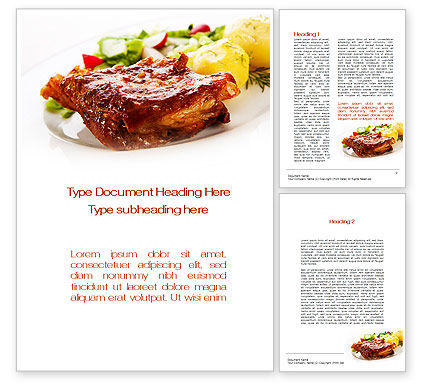 Pork Ribs with Potatoes Word Template, 10010, Food & Beverage — PoweredTemplate.com