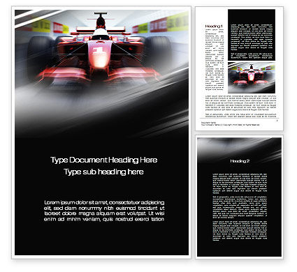 Formula One Bolide Racing Word Template, 10013, Sports — PoweredTemplate.com