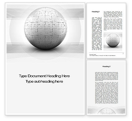 Business Concepts: Puzzle In Sphere Word Template #10016