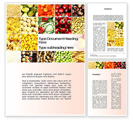 Vegetarian Foods Word Template, 10018, Agriculture and Animals — PoweredTemplate.com