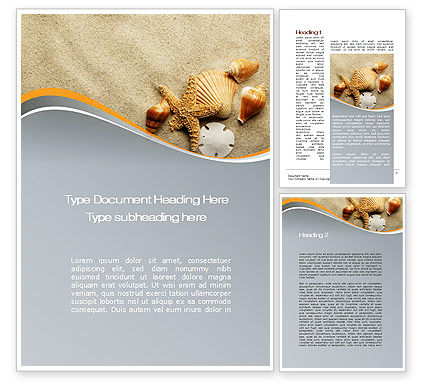 Holiday/Special Occasion: Shells And Starfish Word Template #10030