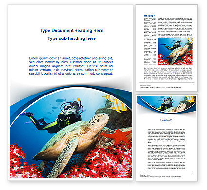 Diving Photo Shooting Word Template, 10048, Sports — PoweredTemplate.com