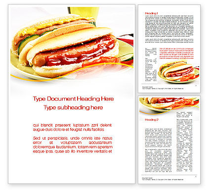 Yummy Hot-Dog Word Template, 10049, Food & Beverage — PoweredTemplate.com