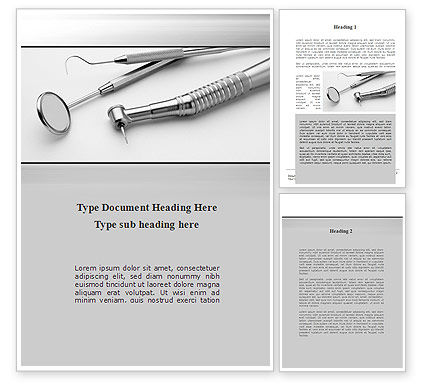 Medical: Dental Tools Word Template #10056