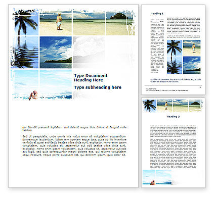Tropical Island Collage Word Template, 10073, Holiday/Special Occasion — PoweredTemplate.com