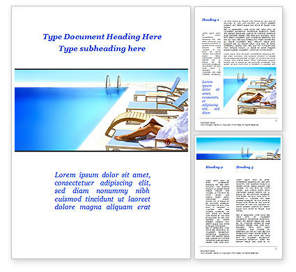 Careers/Industry: Resting After Swim Near Pool Word Template #10088