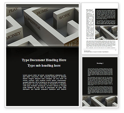 Consulting: Maze of Life Word Template #10129