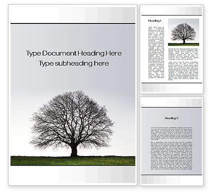 Tree Without Leaves Word Template, 10133, Nature & Environment — PoweredTemplate.com