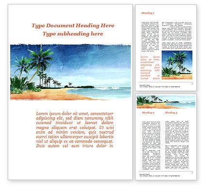 Vacation on Ocean Coast Word Template, 10139, Nature & Environment — PoweredTemplate.com